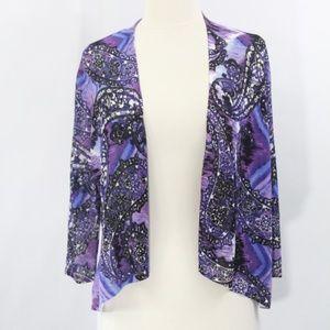 Chico's Paisley Cardigan New Tie Dye Top Purple